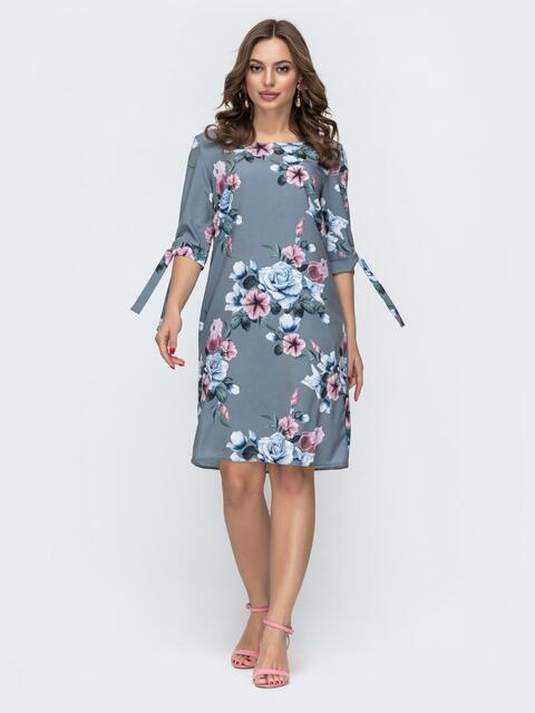 Платье из софта с цветочным принтом серое 46928, фото 1
