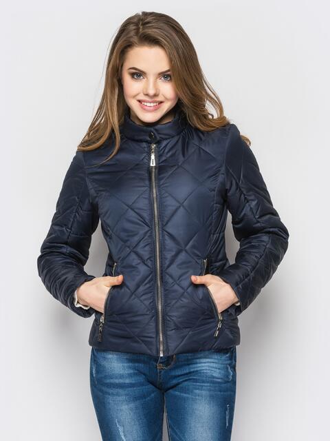 Тёмно-синяя куртка с воротником на кнопке 12935, фото 1
