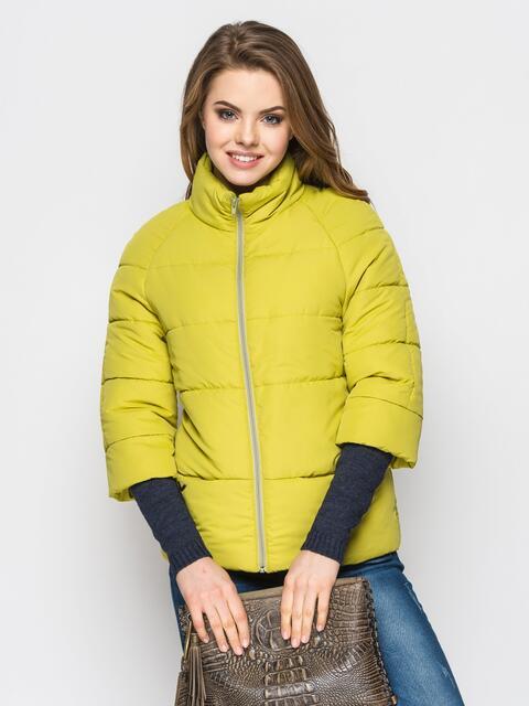 Желто-зелёная куртка на силиконе с рукавом 3/4 12954, фото 1