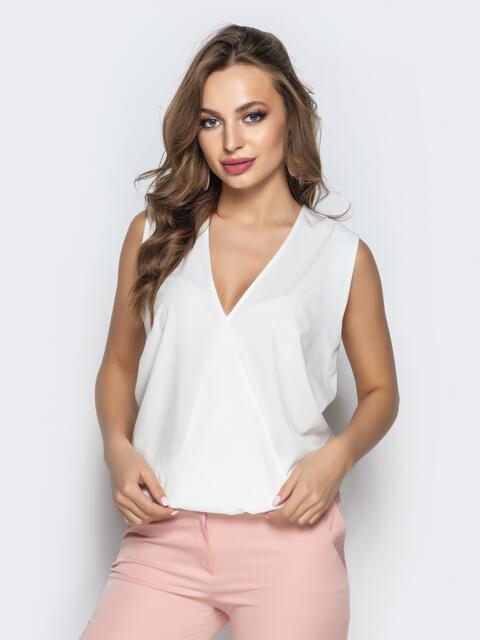 Белая блузка без рукавов с запахом 22274, фото 1