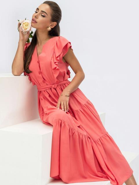 Коралловое платье с расклешенной юбкой и оборками 54309, фото 1