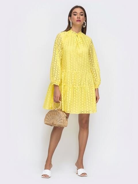 Желтое платье-трапеция из прошвы с длинным рукавом 48286, фото 1
