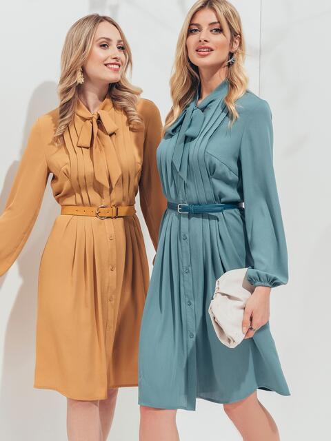 Платье на пуговицах с воротником-аскот голубого цвета 45958, фото 1