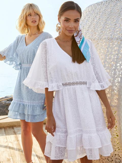 Расклешенное платье из хлопка с объемными рукавами белое 54131, фото 1