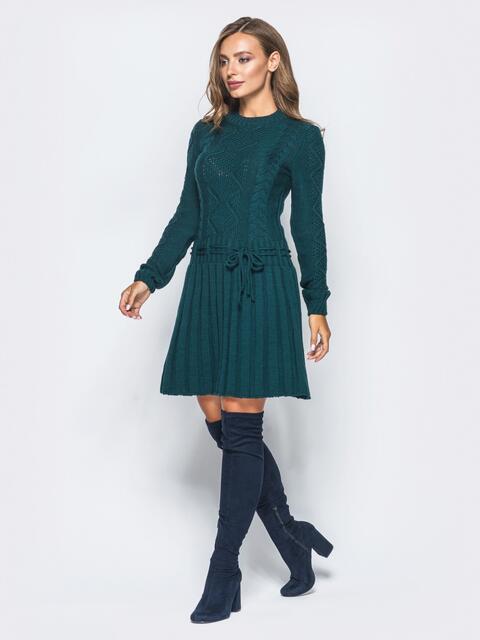 Зеленое вязаное платье с резинкой на поясе 15940, фото 1