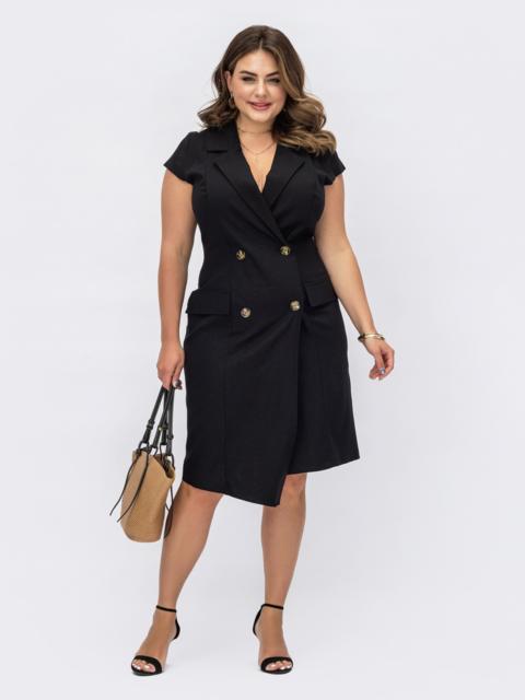 Черное платье-пиджак батал из льна с асимметричным низом 54221, фото 1