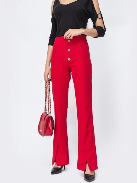 Красные брюки-клёш с разрезами по низу 44117, фото 1
