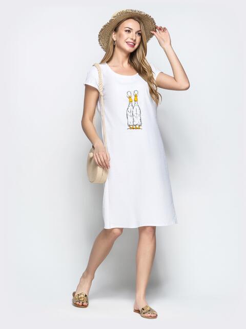 Льняное платье с вышивкой белого цвета 21926, фото 1