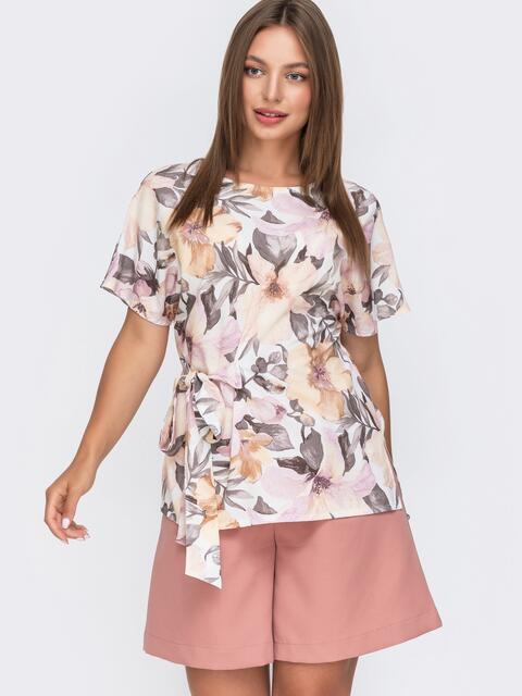 Белая блузка с цветочным принтом и вшитым поясом сбоку 49112, фото 1