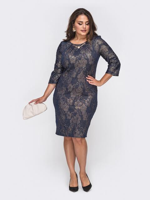 Фактурное платье батал приталенного кроя тёмно-синее 50987, фото 1