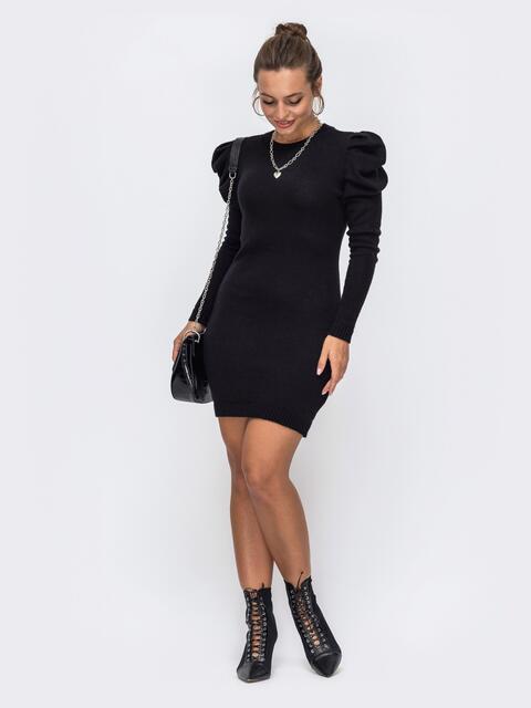 Черное вязаное платье с воротником и складами на рукавах 50417, фото 1