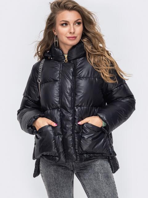 Зимняя куртка с воротником-стойкой и капюшоном чёрная 50219, фото 1