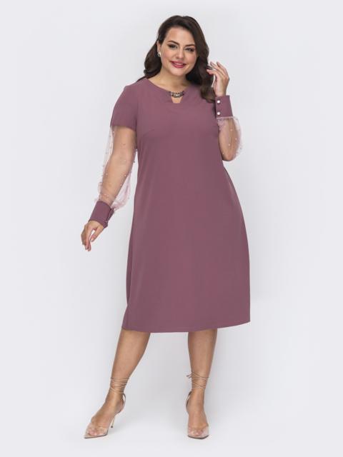 Розовое платье большого размера с жемчужинами на рукавах 52079, фото 1