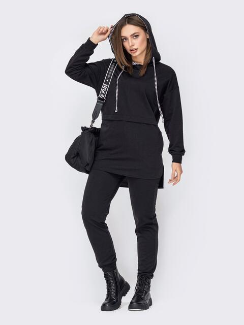 Черный костюм из удлиненного худи и зауженных брюк 52639, фото 1