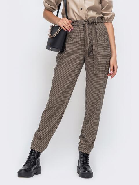 Коричневые брюки в клетку со стандартной посадкой 50191, фото 1