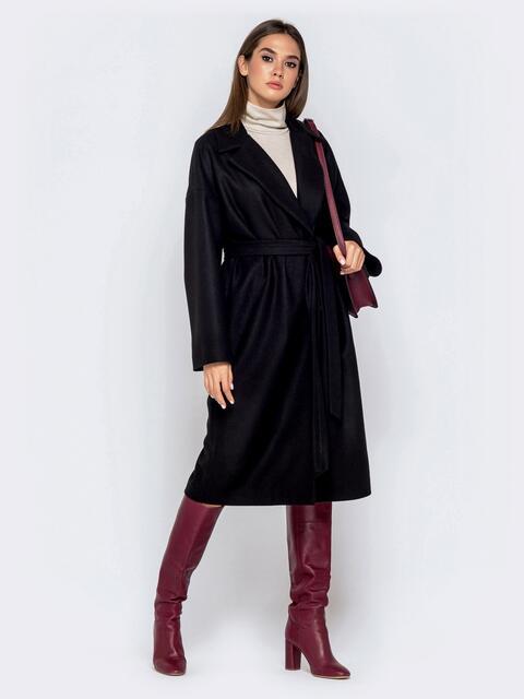 Пальто oversize из шерстяных и акриловых волокон чёрное 40997, фото 1