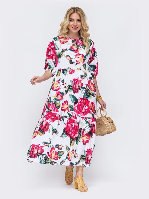 Белое платье батал свободного кроя с цветочным принтом  49090, фото 1
