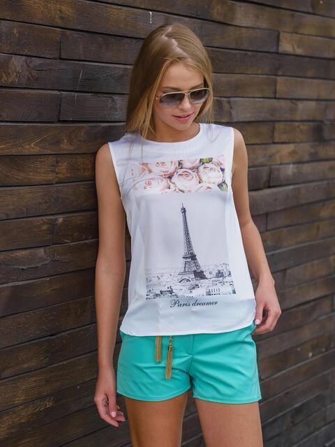 """Блузка из софта с принтом """"Эйфелева башня"""" 13174, фото 1"""