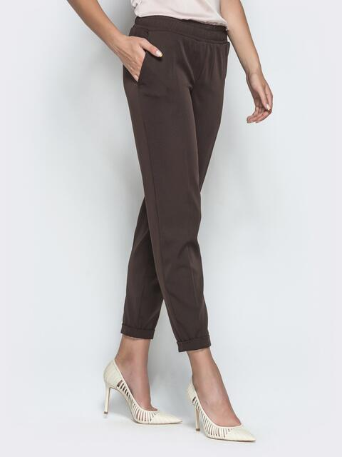 Укороченные брюки с резинкой по талии коричневые 39781, фото 1