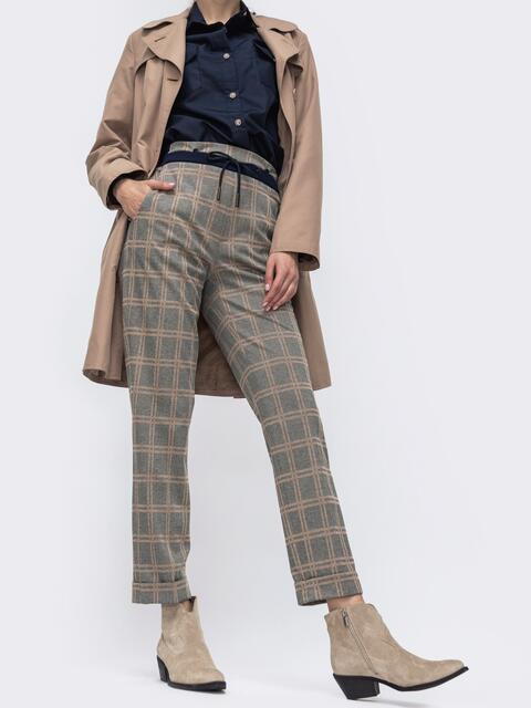 Укороченные брюки в клетку с завышенной талией серый 45812, фото 1