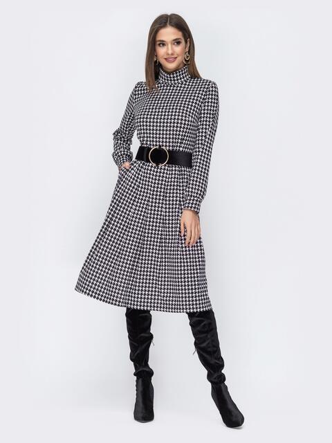 """Чёрное платье с принтом """"гусиная лапка"""" 44190, фото 1"""