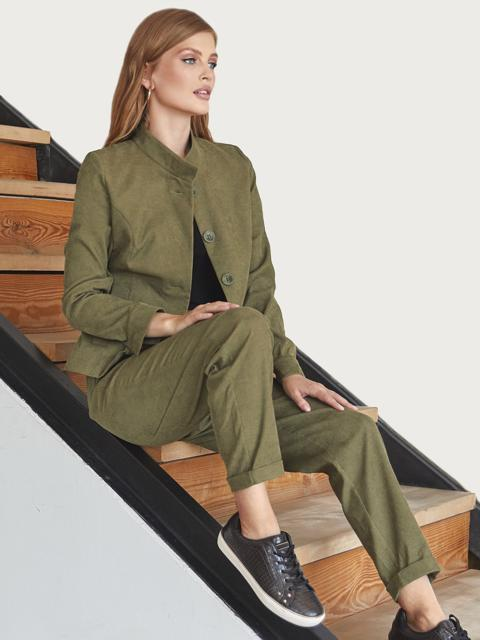 Вельветовый костюм цвета хаки из жакета на пуговицах и брюк 55057, фото 1