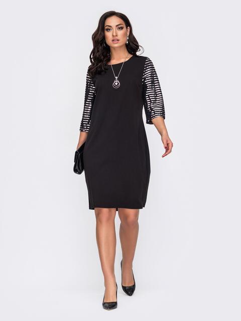 Черное платье большого размера с контрастными рукавами 52200, фото 1