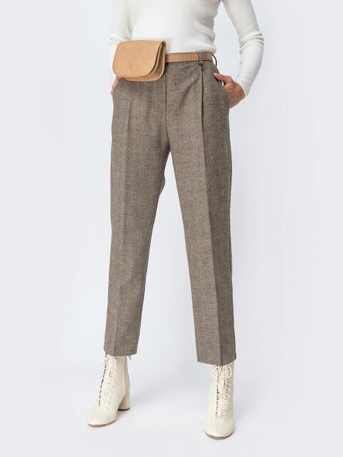 Широкие брюки в клетку с завышенной талией бежевые 42427, фото 1