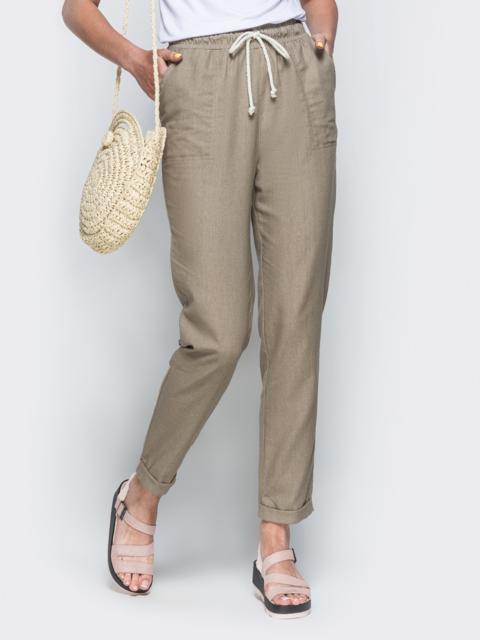 Спортивные штаны с завышеной талией на резинке бежевые 21855, фото 1