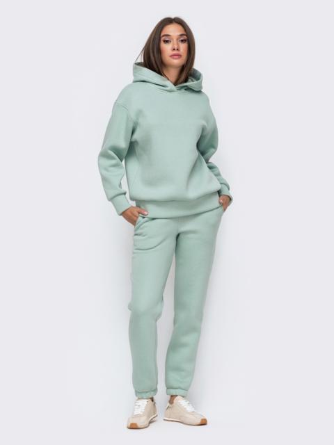 Тёплый комплект мятного цвета из худи и брюк 51154, фото 1