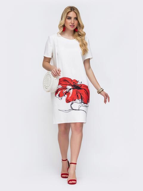 Белое платье батал приталенного кроя с принтом 49058, фото 1