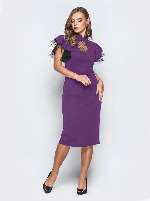 """Платье с вырезом """"капля"""" и фактурным фатином фиолетовое 54035, фото 1"""