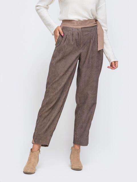 Укороченные брюки-бананы со стандартной посадкой коричневые 52474, фото 1