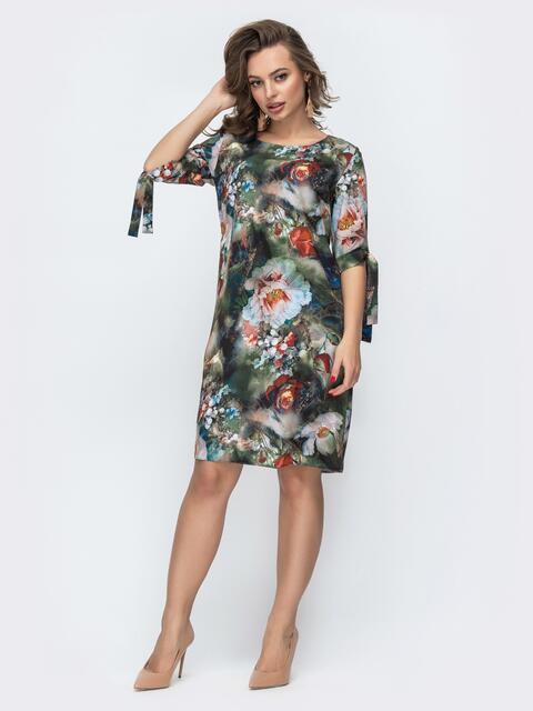 Платье из софта с цветочным принтом зеленое 46929, фото 1