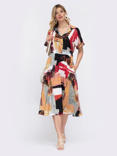 Платье-миди с принтом и расклешенной юбкой 48041, фото 1