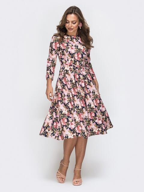 Платье с цветочным принтом и расклешенной юбкой 45597, фото 1