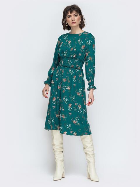Расклешенное платье с принтом зеленое 45052, фото 1