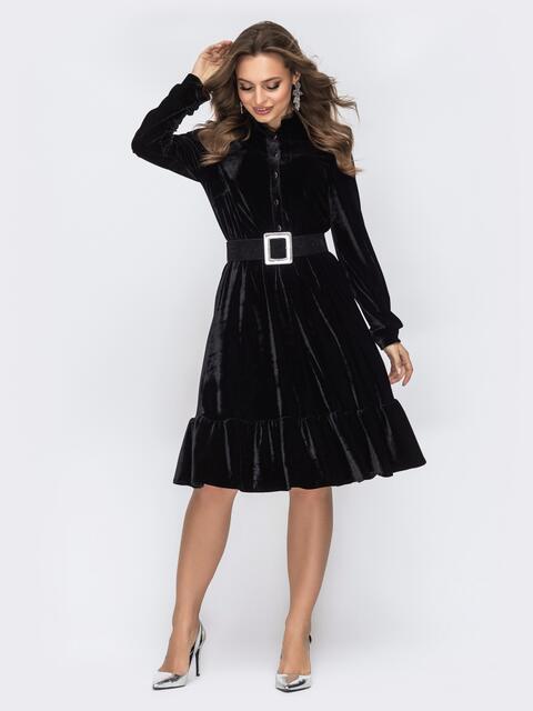 Бархатное платье с воланом по низу чёрное 44091, фото 1
