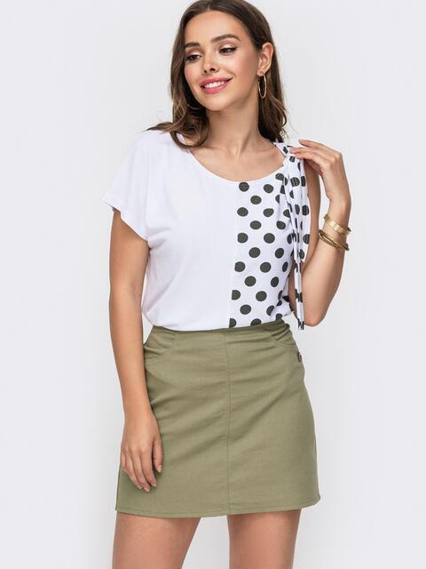 Белая футболка из вискозы в горох с асимметричными рукавами 49170, фото 1