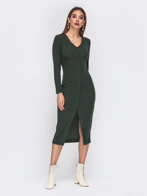 Обтягивающее платье из трикотажа с нитью люрекса зелёное 42218, фото 1