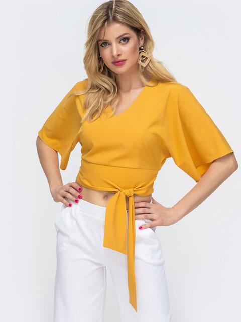 Укороченная блузка с резинкой по спинке желтая 46890, фото 1