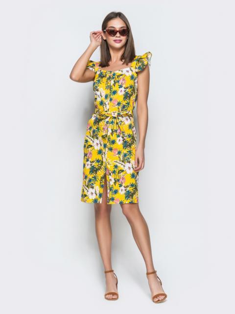 Желтое принтованное платье на широких бретелях с воланами 38395, фото 1