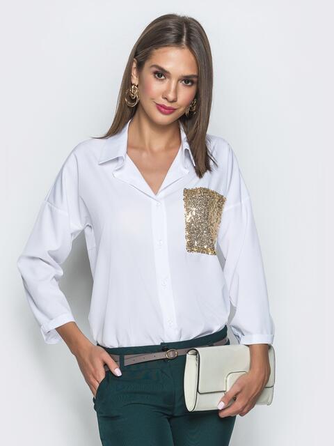 Белая блузка из софта с пайетками 39756, фото 1