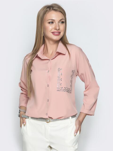 Пудровая блузка со стразами и удлиненной спинкой 39736, фото 1