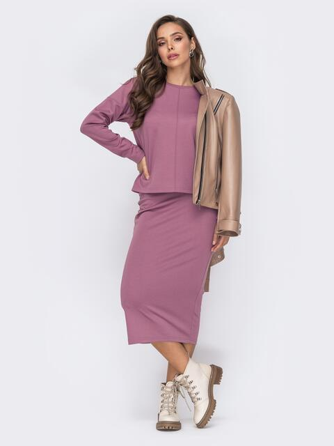 Розовый костюм из свитшота и облегающей юбки 51180, фото 1