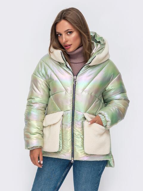 Свободная куртка с капюшоном и съемными карманами зеленая 50226, фото 1
