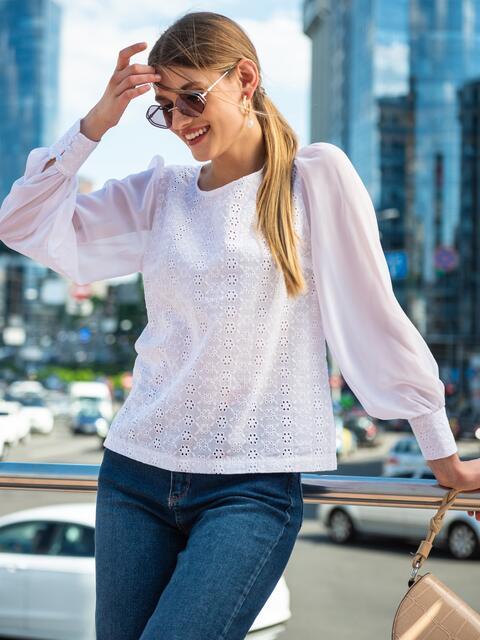 Белая блузка из прошвы с шифоновыми рукавами 49851, фото 1