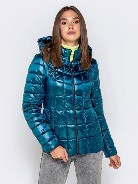 Демисезонная куртка синего цвета с капюшоном 40722, фото 1
