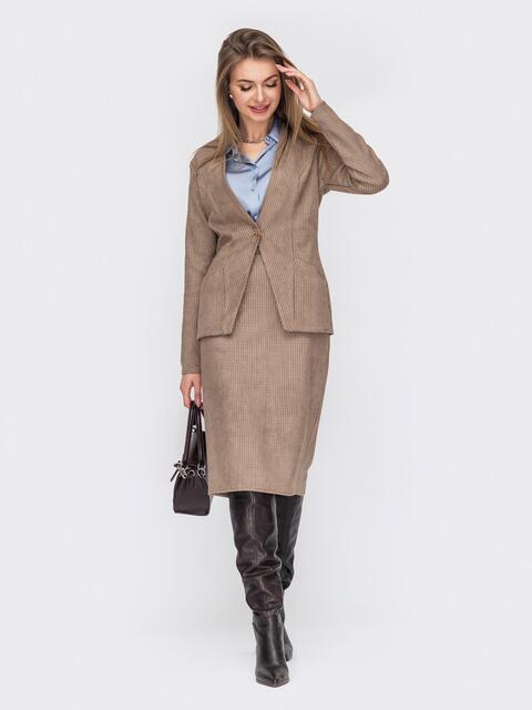 Клетчатый костюм из жакета и юбки коричневый 53045, фото 1
