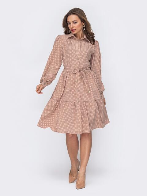 Бежевое платье-рубашка из софта в горох 53541, фото 1